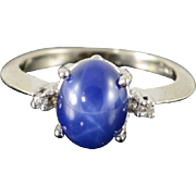 10K 2.52 CTW Syn Star Sapphire Diamond Ring Size 5.25 White Gold