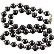 "10K 7mm Black Onyx Gold Ball Strand Necklace 18"" Yellow Gold"