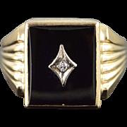 10K 14x12mm Black Onyx Diamond Inset Men's Ring Size 10.75 Yellow Gold