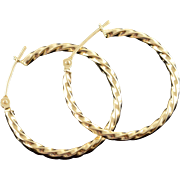 14K Twisted Hollow Hoop Earrings Yellow Gold