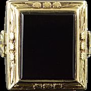 10K Art Deco 13x11mm Black Onyx Generic Class 1931 Ring Size 3.5 Yellow Gold