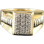 10K 0.15 CTW Diamond Two Tone Men's Statement Bling Ring Size 10.5 Yellow Gold