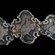 "Sterling Silver Matador & Bull Fighting Reverse Black Peru Bracelet 6.5"""