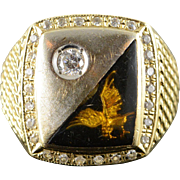 14K Stunning Eagle In Flight Accented Black Men's Bling Ring Size 10.25 Yellow Gold