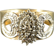 10K Flashy 0.50 CTW Diamond Cluster Heart Cut Out Engagement Ring Size 10 Yellow Gold