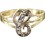 10K Genuine Diamond Accented 'C' Monogram Letter Initial Ring Size 7.75 Yellow Gold