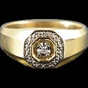 10K Diamond Encrusted Statement Men's Ring Size 10 Yellow Gold
