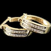 10K 0.40 Ctw Diamond Double Row Hoop Earrings Yellow Gold