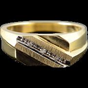 10K Genuine Diamond Accented Diagonal Classic Wedding Band Men's Ring Size 9.75 Yellow Gold