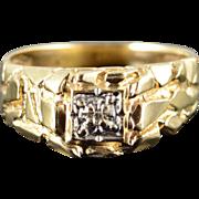 10K Genuine Diamond Nugget Men's Statement Ring Size 9.25 Yellow Gold