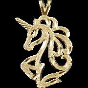14K Unicorn Horse Cut Out Charm/Pendant Yellow Gold