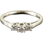 14K 0.25 CTW Diamond 3 Stone Engagement Ring Size 5.25 White Gold