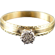 10K Vintage Genuine Cluster Diamond Engagement Ring Size 7.75 Yellow Gold