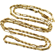 "14K Rope Bar Link Chain Necklace 18.5"" Yellow Gold"