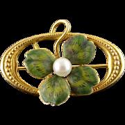 14K Vintage 4mm Green Enamel Four Leaf Clover Shamrock Pin/Brooch Yellow Gold