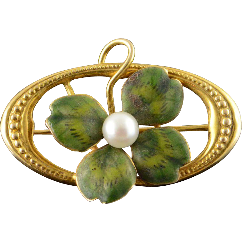 14K Vintage 4mm Green Enamel Four Leaf Clover Shamrock Pin/Brooch Yellow Gold