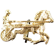 14K Horse & Cart Jockey Racing Riding Tie Tack  Yellow Gold