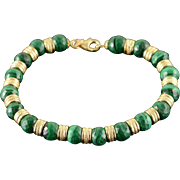 "14K 8mm Malachite Beads Fancy Bracelet 7.5"" Yellow Gold"