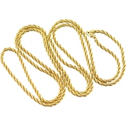 """14K Twist Rope Link Chain Necklace 36"""" Yellow Gold"""