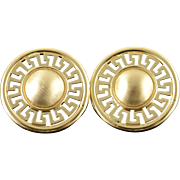 14K Huge 33mm Greek Key Cut Out Circle French Clip Earrings Yellow Gold