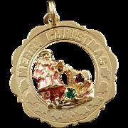 14K Red Enamel Santa Claus Merry Christmas Holiday Circle Charm/Pendant Yellow Gold
