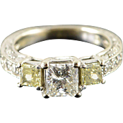 14K 1.00 CT Princess Cut Center 0.75 CTW Fancy Yellow Diamond Engagement Ring Size 5.25 White Gold