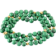 "14K 10mm Malachite Gold Ball Bead Necklace 35"" Yellow Gold"