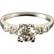 Palladium Vintage 1.06 CT Round Center 0.20 CTW Diamond Engagement Ring Size 6.75