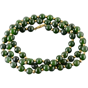 """14Gold Filled 8mm Jade Ball Bead Necklace 30"""""""