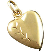 14K Puffy Heart Engraved Charm/Pendant Yellow Gold
