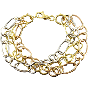 """14K Tri Color Loose Fancy Link Strand Bracelet 7.25"""" Yellow Gold"""