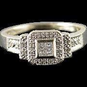 14K 0.25 CTW Diamond Cluster Ring Size 9.5 White Gold