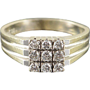 14K 0.30 CTW Diamond Cluster Vintage Ring Size 8 White Gold