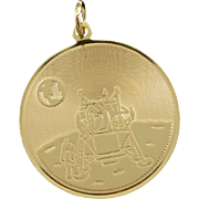 14K Apollo XI Armstrong Aldrin Collins 1969 Moon Landing Nasa Circle Charm/Pendant Yellow Gold