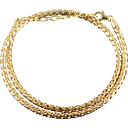"14K Hollow Woven Link Criss Cross Adjustable Necklace 17-19"" Yellow Gold"