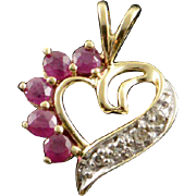 10K 0.26 CTW Ruby Diamond Heart Cut Out Charm/Pendant Yellow Gold