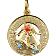 14K 1970's Vintage Merry Christmas Bells Circle Charm/Pendant Yellow Gold