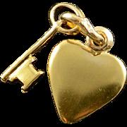 14K Puffy Heart & Key Dangle Charm/Pendant Yellow Gold