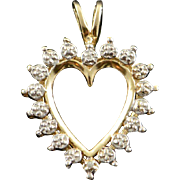 10K Genuine Diamond Accent Heart Cut Out Charm/Pendant Yellow Gold