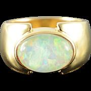 14K 12x9mm Cabochon Large Imitation Opal Ring Size 5.75 Yellow Gold