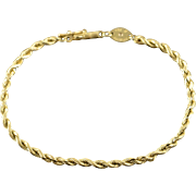"14K 2.6mm Rope Link Chain Bracelet 7.25"" Yellow Gold"