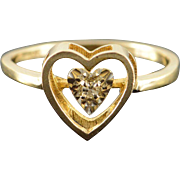 10K Genuine Diamond Accented Heart Cut Out Ring Size 7.75 Yellow Gold