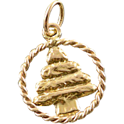 14K Circle Pin Tree Christmas Charm/Pendant Yellow Gold