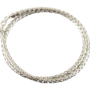 "14K Hollow Criss Cross Woven Link Necklace 18"" White Gold"