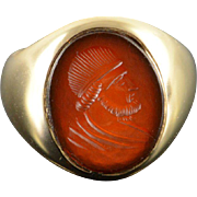 14K 13x10 Oval Carved Carnelian Man's Bust Ring Size 4 Yellow Gold