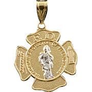 14K St. Florian Protector of Fire Fighters Fire Department Charm/Pendant Yellow Gold