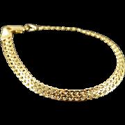 "14K Woven Link Chain Bracelet 7.25"" Yellow Gold"