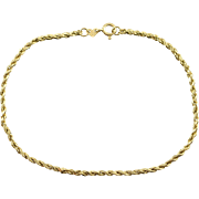 "14K Link Rope Chain Bracelet 7"" Yellow Gold"