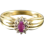 10K 0.30 CTW Ruby Diamond Halo Ring Size 6.75 Yellow Gold