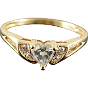 14K CZ Heart Ring Size 7 Yellow Gold